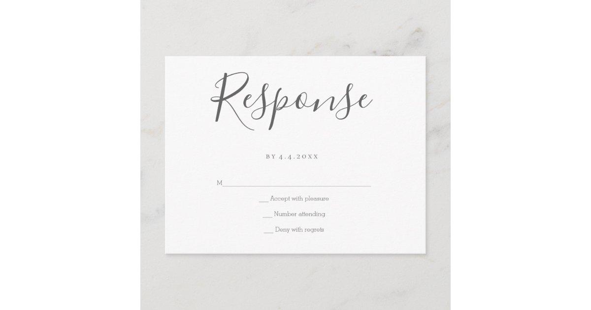 Wedding RSVP Card Matching RSVP with Envelope Printed Grey Return Postcards Silver Event Response Cards