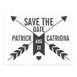 GREY RETRO ARROWS AND HEART SAVE THE DATE POSTCARD