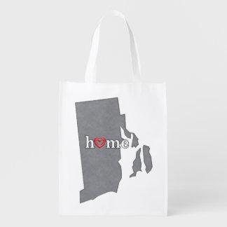 Grey RHODE ISLAND Home & Open Heart Grocery Bag