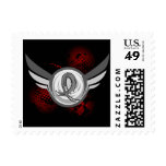 Grey Ribbon And Wings Brain Cancer Postage Stamp