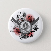 Grey Ribbon And Wings Juvenile Diabetes Pinback Button
