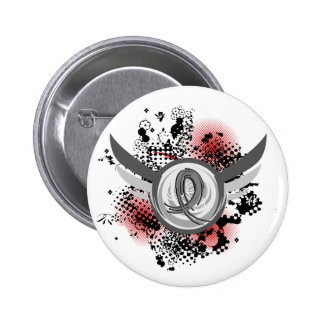 Grey Ribbon And Wings Juvenile Diabetes Pinback Button