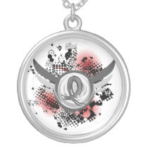 Grey Ribbon And Wings Parkinson's Disease Silver Plated Necklace