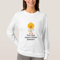 Grey Ribbon Asthma Awareness Chick Long Sleeve Tee
