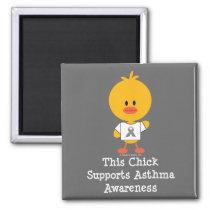 Grey Ribbon Asthma Awareness Chick Magnet