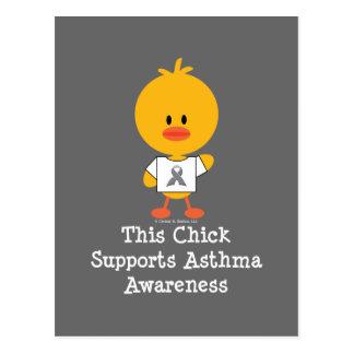 Grey Ribbon Asthma Awareness Chick Postcard