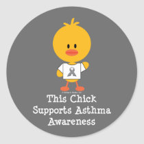 Grey Ribbon Asthma Awareness Chick Stickers