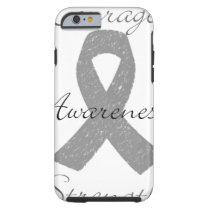 Grey ribbon brain cancer awareness tough iPhone 6 case