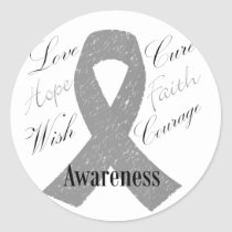 Grey ribbon brain cancer awareness classic round sticker