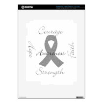 Grey ribbon brain cancer awareness iPad 3 skins