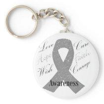 Grey ribbon brain cancer awareness keychain