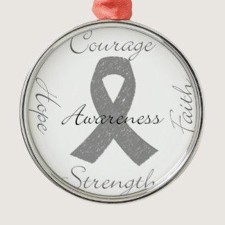 Grey ribbon brain cancer awareness metal ornament