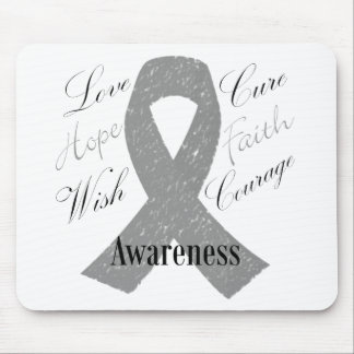 Grey ribbon brain cancer awareness mouse pad