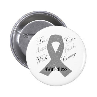 Grey ribbon brain cancer awareness pinback button