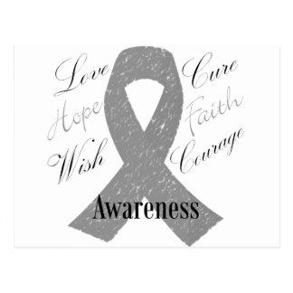 Grey ribbon brain cancer awareness postcard