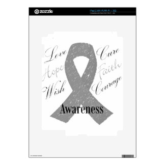 Grey ribbon brain cancer awareness decal for the iPad 2