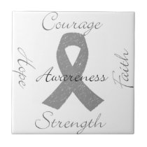 Grey ribbon brain cancer awareness tile