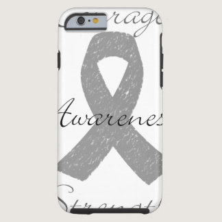 Grey ribbon brain cancer awareness tough iPhone 6 case