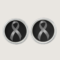 Grey Ribbon Brain Tumor Cancer & Diabetes Cufflinks