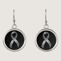 Grey Ribbon Brain Tumor Cancer & Diabetes Earrings