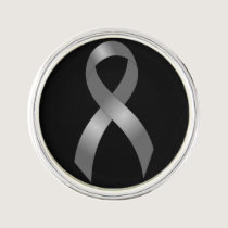 Grey Ribbon Brain Tumor Cancer & Diabetes Lapel Pin