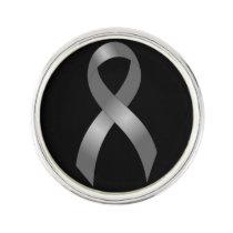 Grey Ribbon Brain Tumor Cancer & Diabetes Lapel Pin