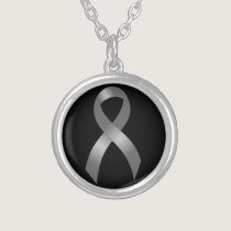 Grey Ribbon Brain Tumor Cancer & Diabetes Silver Plated Necklace