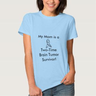 GREY_RIBBON, My Mom is a, Two-TimeBrain Tumor S... Tshirt