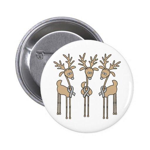 Grey Ribbon Reindeer - Brain Cancer/Brain Tumor Pins