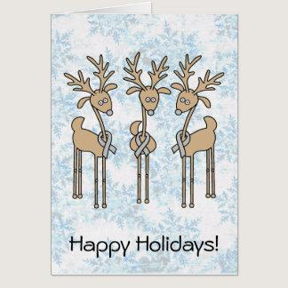 Grey Ribbon Reindeer - Brain Cancer/Brain Tumor Card