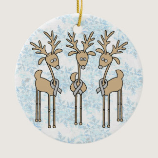 Grey Ribbon Reindeer - Brain Cancer/Brain Tumor Ceramic Ornament