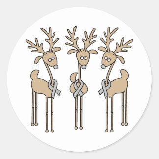 Grey Ribbon Reindeer - Brain Cancer/Brain Tumor Classic Round Sticker