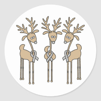 Grey Ribbon Reindeer - Brain Cancer/Brain Tumor Classic Round Sticker