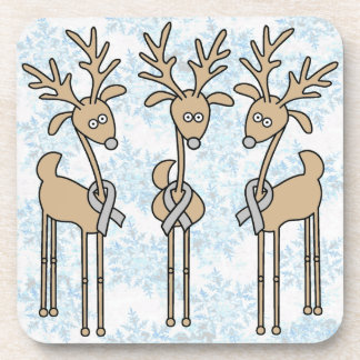Grey Ribbon Reindeer - Brain Cancer/Brain Tumor Drink Coaster