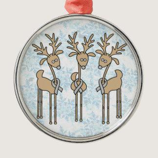 Grey Ribbon Reindeer - Brain Cancer/Brain Tumor Metal Ornament