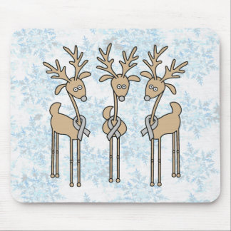 Grey Ribbon Reindeer - Brain Cancer/Brain Tumor Mouse Pad