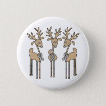 Grey Ribbon Reindeer - Brain Cancer/Brain Tumor Pinback Button