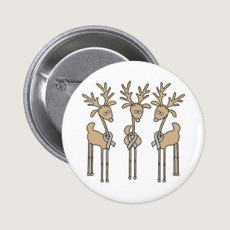 Grey Ribbon Reindeer - Brain Cancer/Brain Tumor Pinback Button