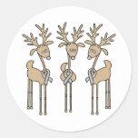 Grey Ribbon Reindeer - Brain Cancer/Brain Tumor Stickers