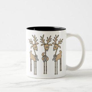 Grey Ribbon Reindeer - Brain Cancer/Brain Tumor Two-Tone Coffee Mug