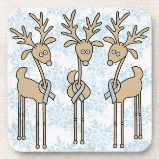 Grey Ribbon Reindeer - Diabetes Awareness Coaster