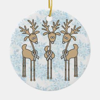 Grey Ribbon Reindeer (Diabetes) Ceramic Ornament