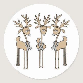 Grey Ribbon Reindeer (Diabetes) Classic Round Sticker