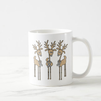 Grey Ribbon Reindeer (Diabetes) Coffee Mug