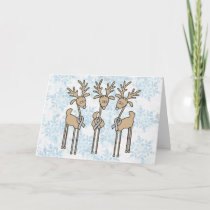 Grey Ribbon Reindeer (Diabetes) Holiday Card