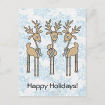 Grey Ribbon Reindeer (Diabetes) Holiday Postcard