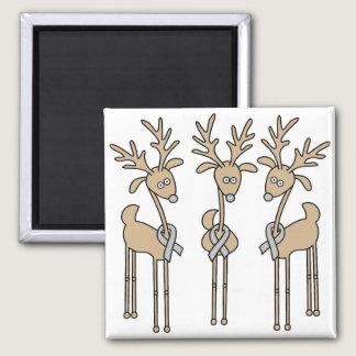 Grey Ribbon Reindeer (Diabetes) Magnet