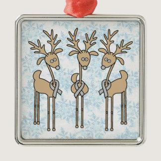 Grey Ribbon Reindeer (Diabetes) Metal Ornament