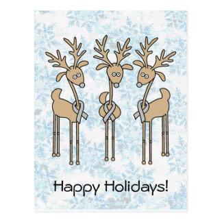 Grey Ribbon Reindeer (Diabetes) Postcard