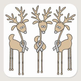 Grey Ribbon Reindeer (Diabetes) Square Sticker